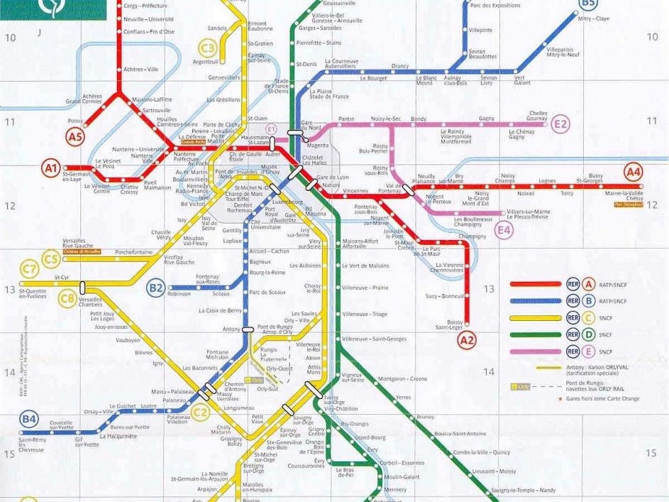 mappa linee RER Parigi